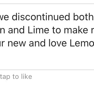Message from Waterloo confirming the Lime sparkling water has been discontinued